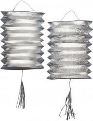 2 silberne Metall-Laternen