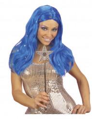 Blaue Perücke mit Sternen für Damen