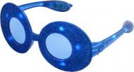 Leuchtende Brille oval mit blauen Pailletten