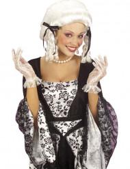 Kurze weiße Spitzen-Handschuhe für Damen