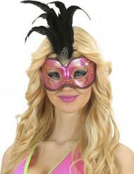 Rosa Augenmaske mit schwarzen Federn
