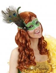 Venezianische Maske grün mit Pfaufeder