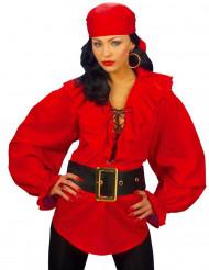 Rote Piraten-Bluse für Damen