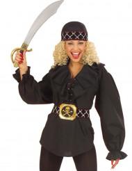 Schwarze Piraten-Bluse für Damen