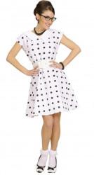 50er-Jahre weißes Kleid mit Pünktchen für Damen