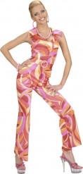 Disco-Kostüm für Damen Overall bunt
