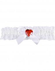 Weißes Spitzen-Strumpfband mit rosa Herz