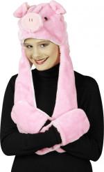 Schweine-Mütze mit Fäustlingen für Erwachsene
