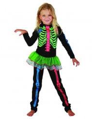 Neon Skelettkostüm für Mädchen bunt