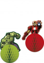 Zwei hängende Dekopapierkugeln Superhelden