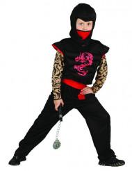 Rot - schwarzes Ninja Kostüm für Kinder