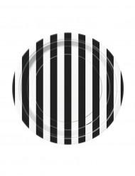 8 kleine Teller aus schwarz-weiß gestreiftem Karton, 18 cm