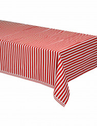 Rot-weiße gestreifte Tischdecke aus Plastik 137 x 274 cm.
