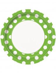 Pappteller mit Punkten 8 Stück weiss-grün 23 cm