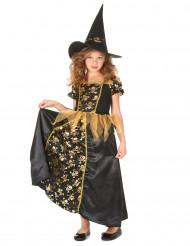 Hexenkostüm für Mädchen mit Totenköpfen schwarz-goldfarben
