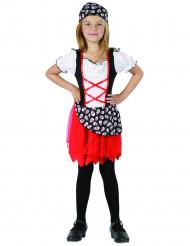 Piratenmädchen Kostüm schwarz-weiss-rot