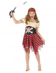 Piratinnenkostüm für Mädchen schwarz-rot-beige