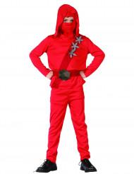 Ninja-Kostüm für Jungen rot-grau