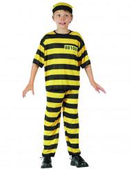 Gelb-schwarzes Sträflingskostüm für Jungen