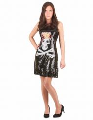 Piratenkostüm Paillettenkleid mit Totenkopf