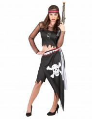 Piratenkostüm für Frauen mit Totenkopf-Rock schwarz-weiss-rot