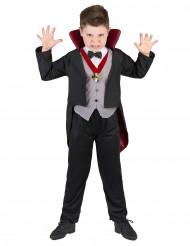 Vampirkostüm mit Medaillon für Jungen schwarz-grau