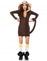 Affen-Kostüm für Damen Kleid mit Kapuze braun