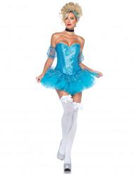 Märchenprinzessin Eiskönigin Damenkostüm blau