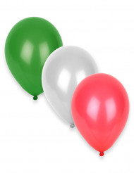 Zwölf Luftballons in weiß, grün und rot