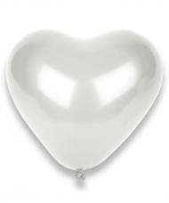 100 weiße Herz-Luftballons
