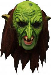 3/4 Maske Grüner Kobold mit Gebiss - Hand bemalt