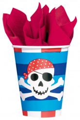 8 Pappbecher mit grinsendem Piratenkopf