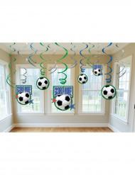 Fußball-Deko Spiralen 12 Stück grün-blau