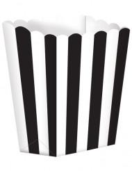 5 schwarz-weiße Popcorn Schachteln