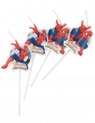 6 Spiderman™ Strohhälme mit Etikette
