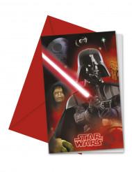 6 Darth Vader™ Einladungskarten + Briefumschläge