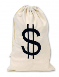 Stoffbeutel mit Dollarzeichen Kostümzubehör Bankräuber beige-schwarz 42x26cm