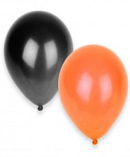 10 Luftballons in schwarz und orange