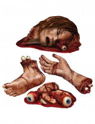 4 Halloween Party Aufkleber Blutige Körperteile