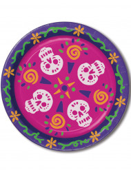 8 große Teller - Día de los Muertos
