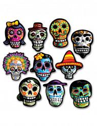 10 Mini Dekorationen aus Karton Dia de los Muertos, 12 x 9 cm