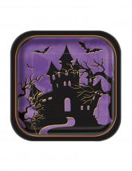 10 kleine quadratische Pappteller - die Nacht von Halloween 18 cm