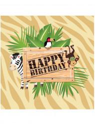 16 Servietten aus Papier zum Geburtstag im Safari-Stil mit den Maßen 33 x 33 cm