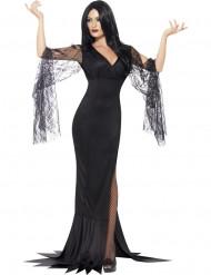 Halloween Hexen-Kostüm mit schwarzer Spitze für Frauen