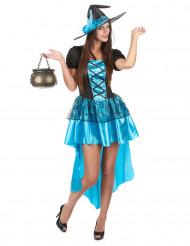 Verführerisches Hexenkostüm in Blau für Damen