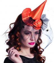 Oranger Mini Hexen Hut mit Tüll Halloween für Damen