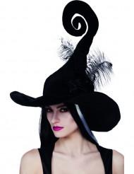 Schwarzer Hexen Hut mit Feder Halloween für Damen