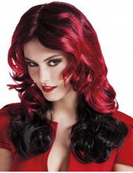 Mittellange Perücke in Schwarz und Rot für Frauen