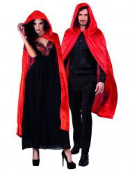 Halloween Umhang aus rotem Samt für Erwachsene 120 cm