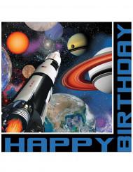 16 Papierservietten für den Geburtstag mit Weltraum-Motiv 33 x 33 cm